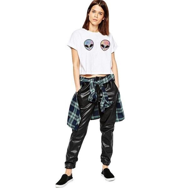 ビーストニットCQ-H749 2016新しいファッション女性のTシャツ3Dエイリアンプリントホワイトクロップトップ半袖