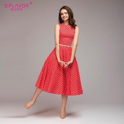 SALE・繁・櫂皐`ル S.FLAVOR Vintage dress 2018 Summer New sleeveless O-neck vestidos Women elegant thin dot