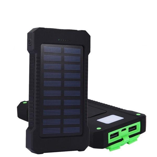 新しい20000mAhデュアルUSBソーラーパワーバンクポータブル充電器、iPhone、携帯電話、タブレット、