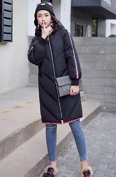 [55555SHOP]ロングコート ゆったり 防寒保暖 厚手 ストライプ柄 フード付き フカジュアル 全4色