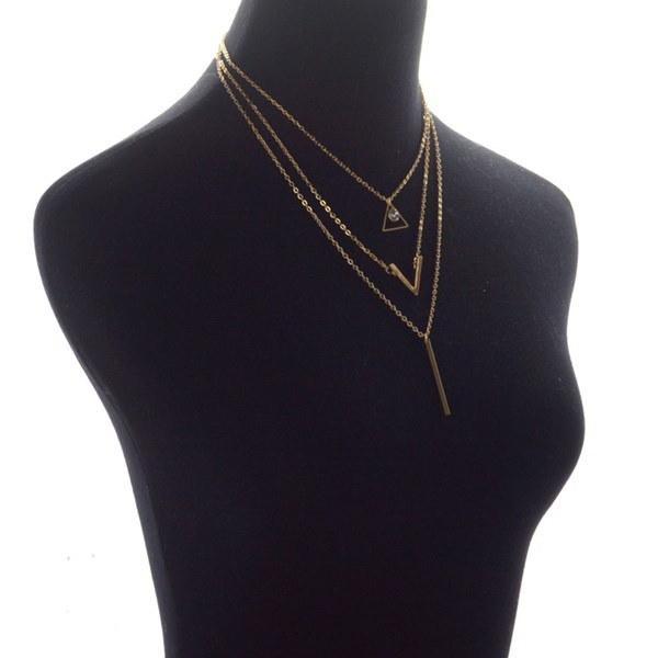 ファッションマルチレイヤーネックレス女性チェーンビブチョーカークリスタルチャンクーペンダント(カラー:ゴールド)