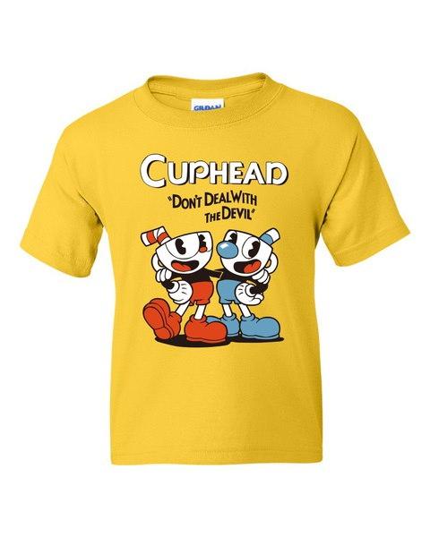 ゲームコップのコスプレ成人と子供の衣装黄色のドンt悪魔のプリントTシャツsh