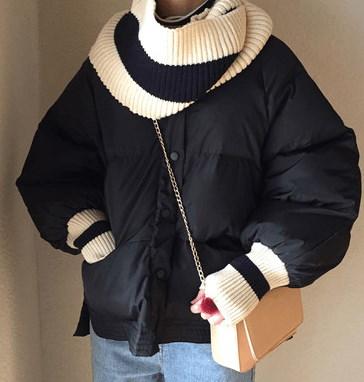 レディース コートジャケット bf風 ショート ゆったり 分離可能 マフラー パンウェア 棉服 秋冬