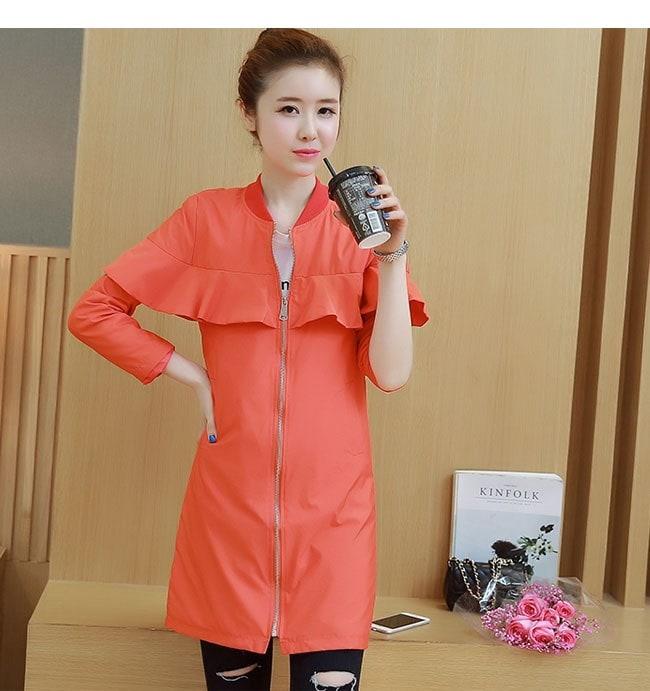 アウター コート トレンチコート レディース 女性 羽織 ロングコート 韓国風 フリル カラーフルー カジュアル