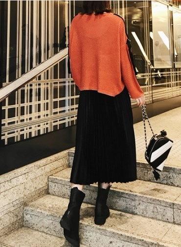 ヴィンテージスタイルがトレンド♪☆春注目のサテンのオルガンプリーツスカート☆・★ CHERGKA000153