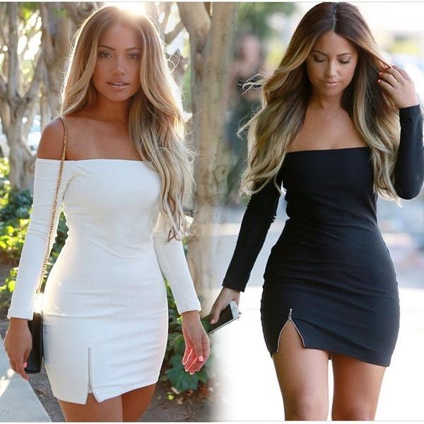 新しいファッション女性セクシーなボディコンワンピースソリッドロングスリーブスラッシュネックストラップレス包帯ペンシルミニドレス