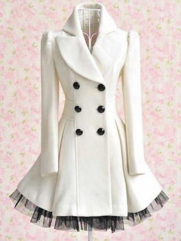女性のウールのダブルブレストホワイトドレスコート(S / M / L / XL / XXL)