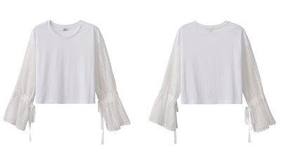ベルスリーブ Tシャツ 袖レース 長袖 リボン ラウンドネック ホワイト 白 かわいい 春 AM-20