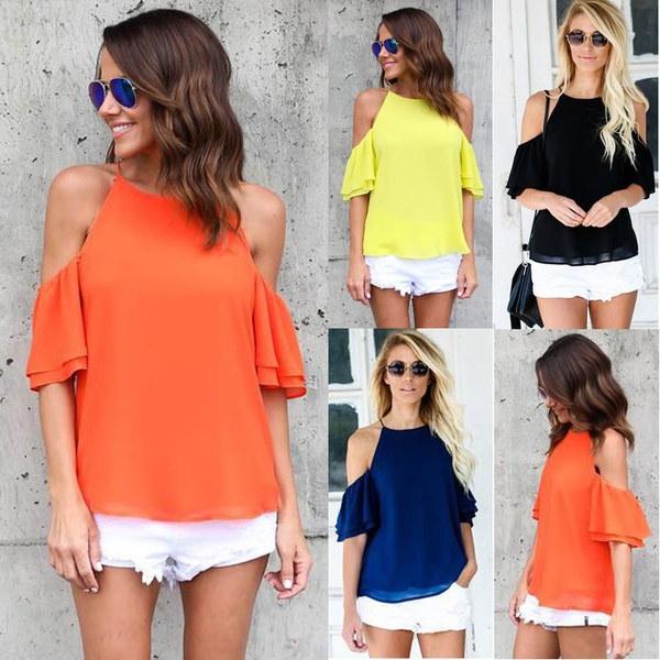 ファッション女性はオフショルダートップス半袖シャツカジュアルブラウスルーズTシャツ