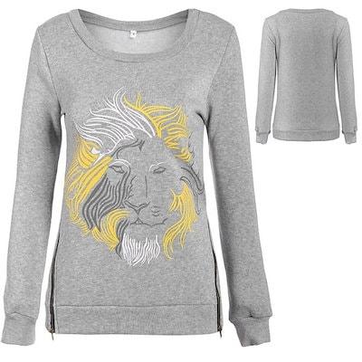 Women Ladies Terylene Casual O-Neck Long Sleeve Loose Print Shirt Tops Sweatshirt   Or New Trend Cap