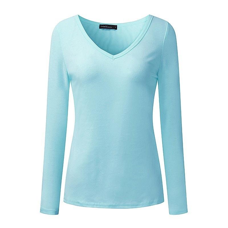 S-3XL Celmia Damen Langarmshirt V-Ausschnitt Freizeit Long Sleeve T-Shirt Bluse Tops