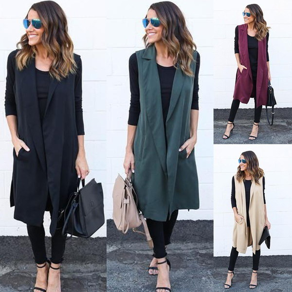 Women Long Vest Jacket Casual Outwear Sleeveless Cardigan Sweater Coats Plus Size