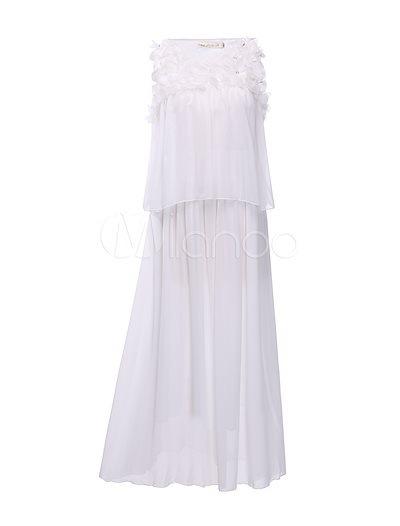 White Flower Chiffon Maxi Dress