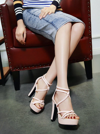 Thin Strap Knot Platform Chunky Heel Sandals