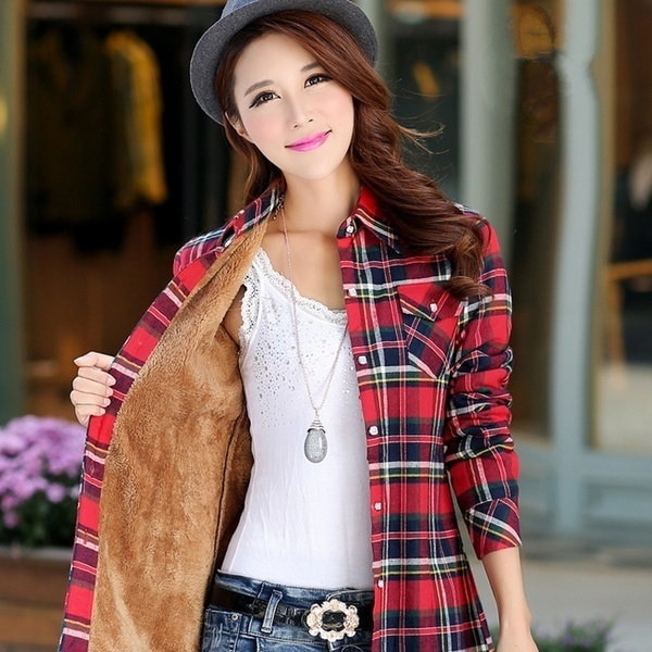 新しい女性の秋と冬のウォームシャツと厚手のベルベット長袖コットンボトミングスリムチェック柄