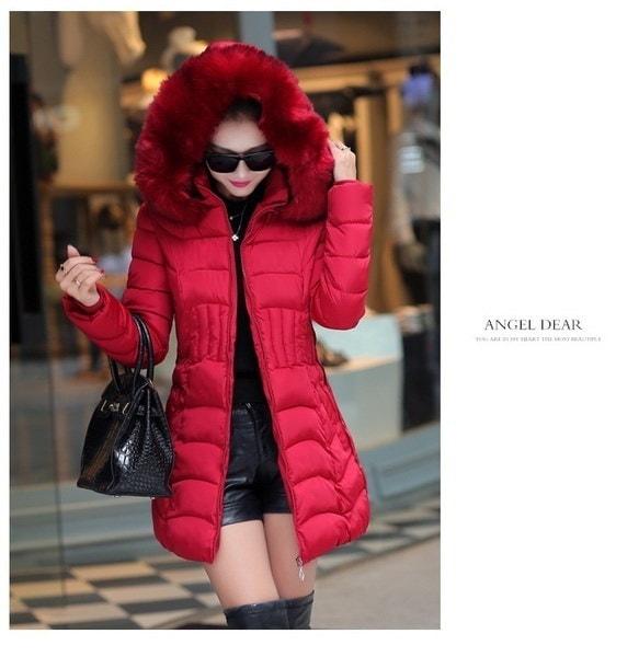 女性の冬暖かい厚手の毛皮の襟ロングダウンフード付きジャケット
