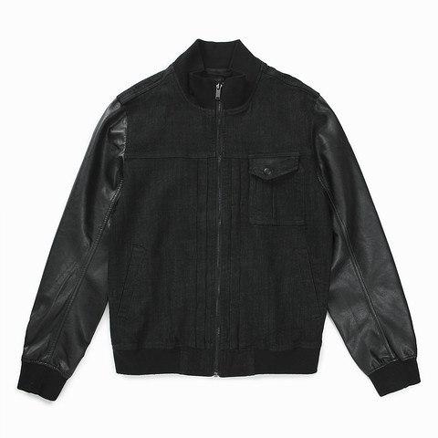 [ELOQ] _E166MJP123M_(男)フェイクレザー袖配色デニムジャンパー