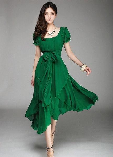 女性の夏のファッション半袖シフォンロングボヘミア展開ドレス