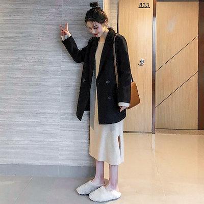 ロング テーラードジャケット オーバーサイズ 黒 ジャケット コート ミディ丈 フォーマル オフィス 通勤 デイリー シンプル ママコーデ