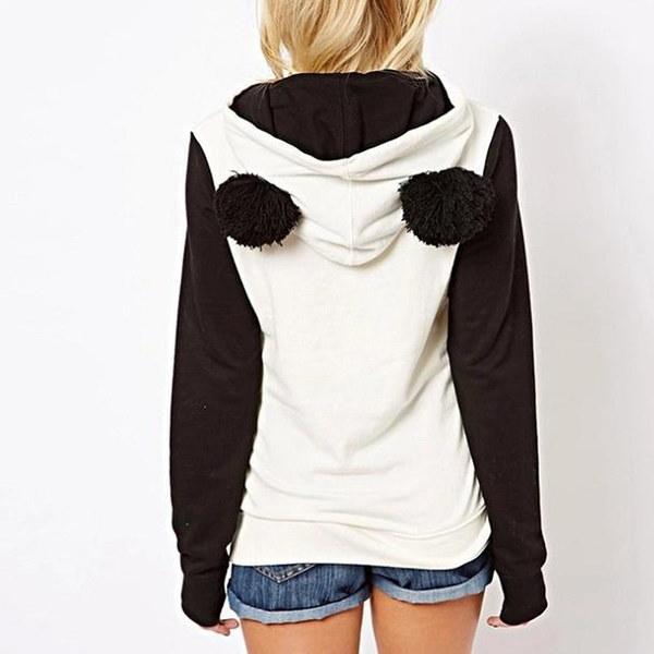 女性のパンダフリースプルオーバーパーカースウェットジャンパーフード付きセーターコートトップスDEN