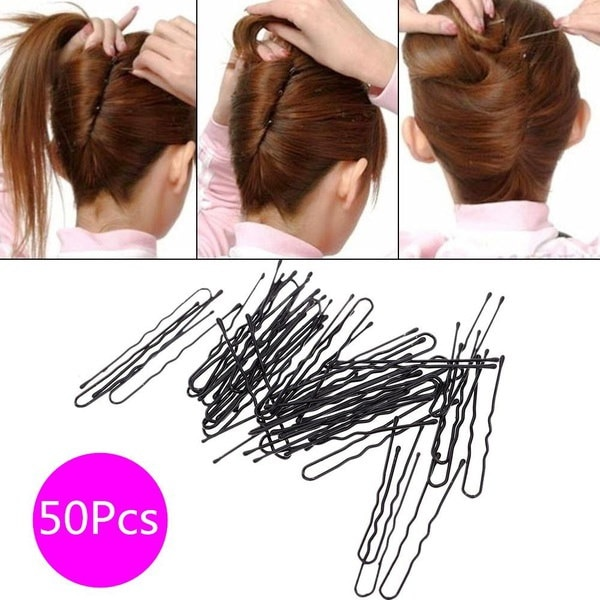 50pcs細いU形の髪のボビーのピン黒い金属クリップ美容女性の髪の用具(サイズ:U形(50個)、