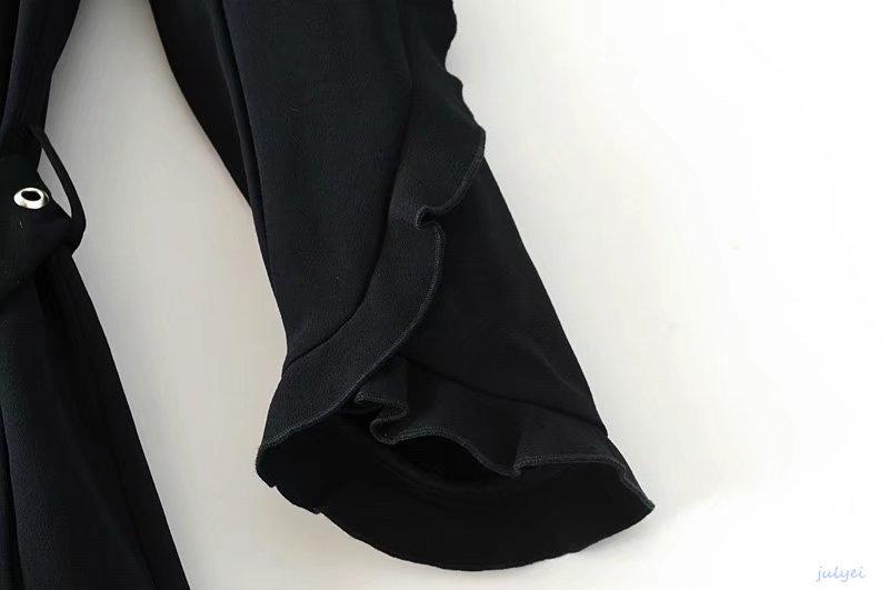 秋冬 欧米風大人スーツジャケット フラウンス付き リベット飾り カジュアル スーツブレザー ロングトレンチコート コート アウター ブラック