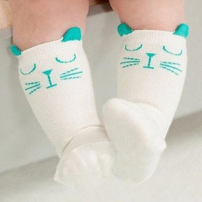 Hot Newborn Toddler Knee High Sock Baby Boy Girl Socks Anti Slip Cute Cat S-M classictop