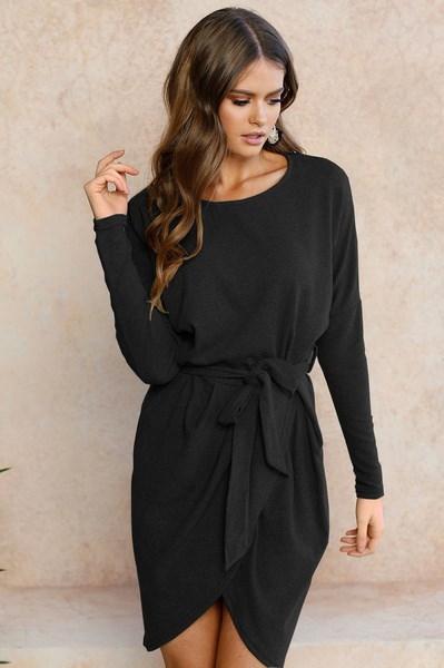 女性のカジュアルなセクシーなジッパーソリッドカラー長袖の膝の長さボディコンドレス