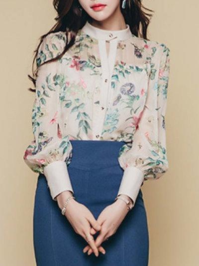 セレブ愛用レトロ高品質ハイネック長袖美しい花柄シャツ