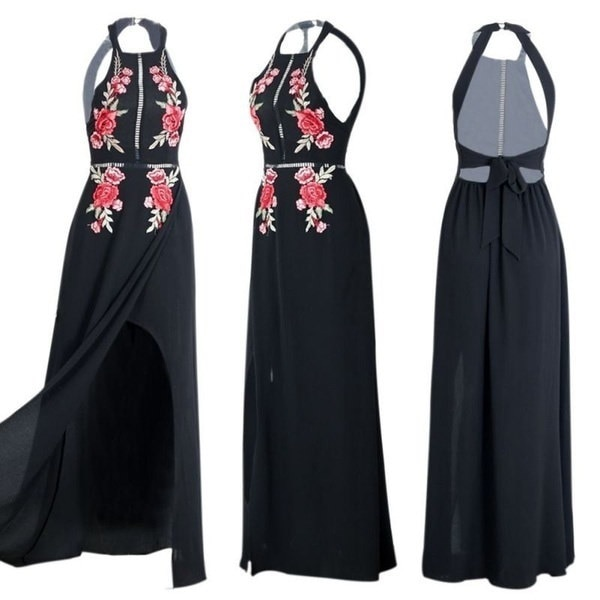 Women Embroidery Chiffon Long Dress Halter Backless Sexy Dresses Party Dresses Beach Dress