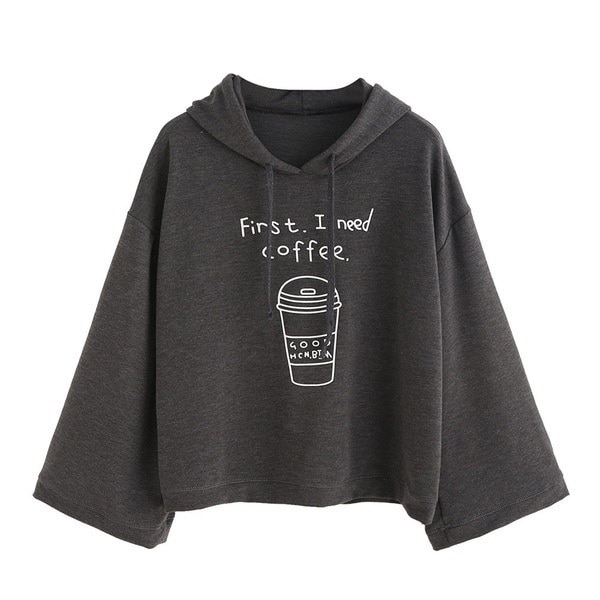 First I Need Coffee Women long Sleeve Gray Letter Print Hooded Sweatshirt Pullovers