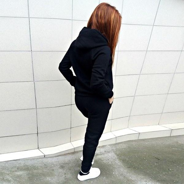 2本の女性のカジュアルTracksuitフード付きのスエットシャツパンツスポーツウェアスーツセット