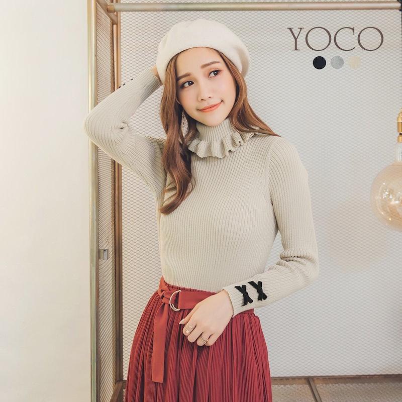 【YOCO】多色フリルネックニットトップス-172006(20171031) トップス ニット セーター 秋 冬 レディース
