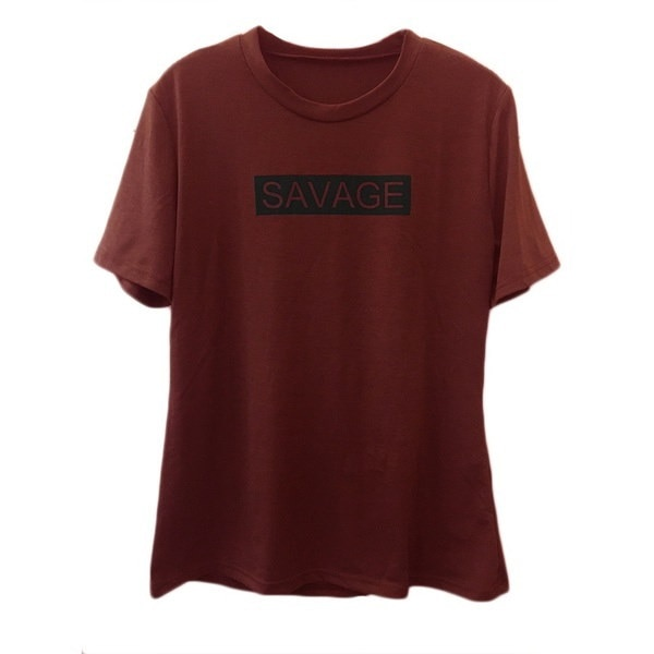 新しい女性の貿易サベージレタープリントトップ半袖Tシャツ