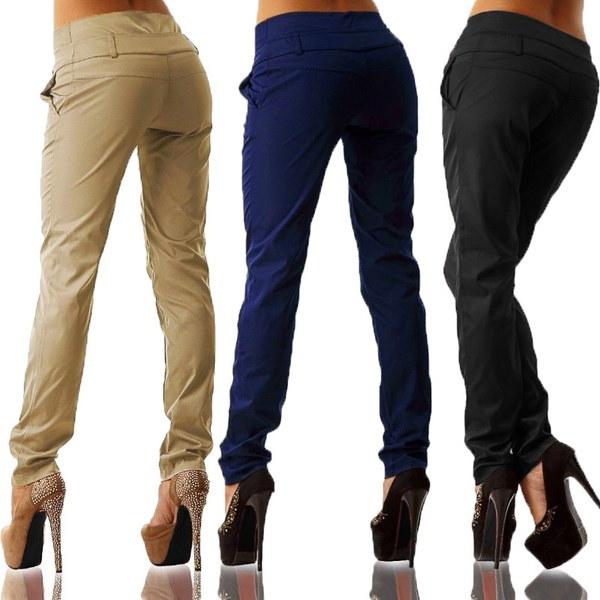 プラスサイズの女性スリムカジュアルボタンスキニーレギンスペンシルロングパンツズボン