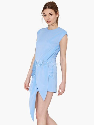 Charming Light Blue Crewneck Knotted Women s Short Dress