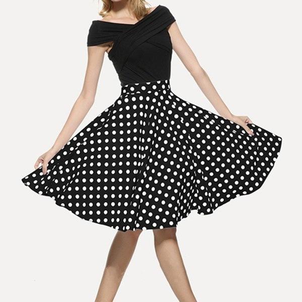 女性1950年代ヘップバーンスタイルスカートポルカドットプリントプラスサイズビッグヘムエレガントなAラインミディスカートL  -  4XL
