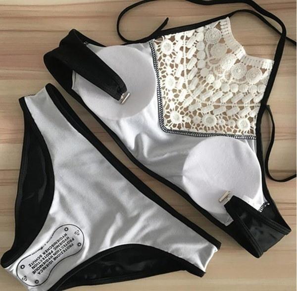 女性のファッションセクシーな水着ハイネック中空のかぎ針編みのトップビキニセット水着プラスサイズXS