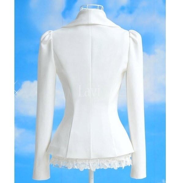 シックなレディースOLキャリアトップススリムレディーススーツブレザージャケットホワイトちょう結びコート