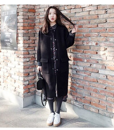 ニコニコドーナツファッション 韓国風 レディース服 ローグコード コクーンしっかりと厚手 柔らかく 肌触りも滑らか スポーツ風 着心地が抜群  ちょっぴり可愛くて大人 スイート 着痩せ  ストリート系