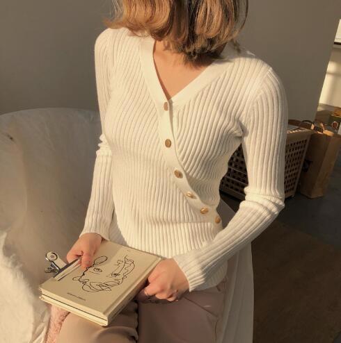 [55555SHOP]韓国ファッション シンプル ニットソー素材 トップス 柔らかい着心地が自慢のニット★ルーズフィットに女性らしいシルエット♥大人気のレビュー必見♥