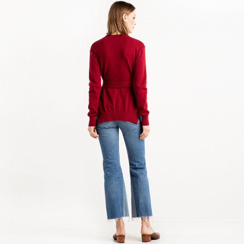 ファッションソリッドカラーサイドスリットベルト長袖セーター