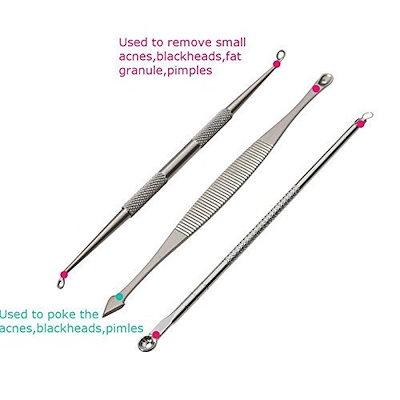 コメドンエクストラクタツール、Aooeouステンレススチール製のにきびブラックヘッドリムーバー曲線ツイーザートリートメント