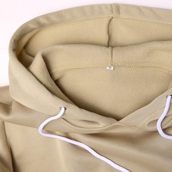 女性巾着フード付き長袖プルオーバーフリース裁縫パーカーシャツトップ3色