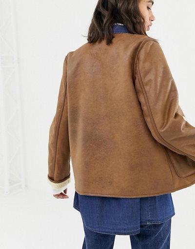 ウエアハウス レディース ジャケット・ブルゾン アウター Warehouse reversible borg jacket in tan