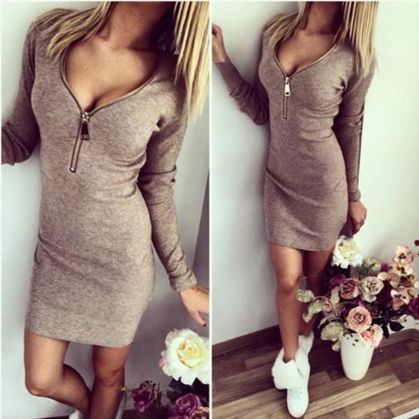 女性のニットドレスセクシーなVネックジッパーボディコンレディースセータードレス