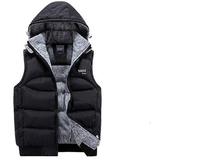 ファッションメンズウィンターベストノースリーブフード付きメンズジャケットアウターウェアウォームベスト
