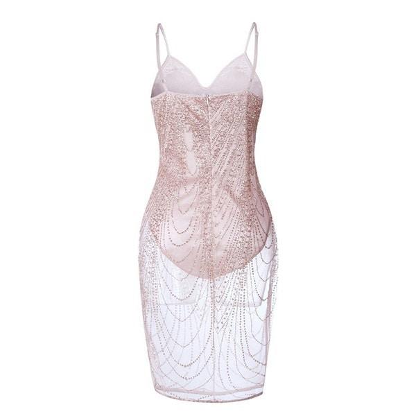 2017女性の夏のセクシーなイブニングカクテルパーティーシャイン透明なドレススリムフィットストラップワンピース