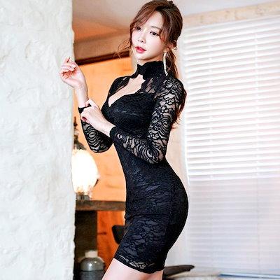 【送料無料】韓国スタイル 韓国ファッション 韓国 レディース ファッション ワンピース ワンピ シースルー レース スリム 長袖 タイトワンピ ホルダーネック 胸元 総レース セクシー パーティー 2