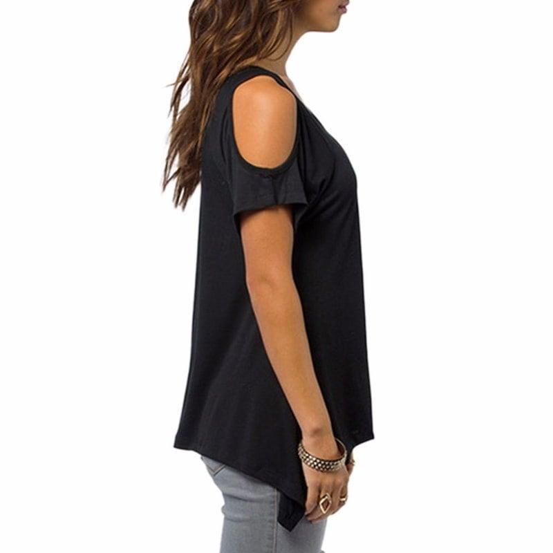 女性の快適なカジュアルなVネックのトップセクシーなレディースオフショルダー半袖ストレッチTシャツプラスサイズのティー